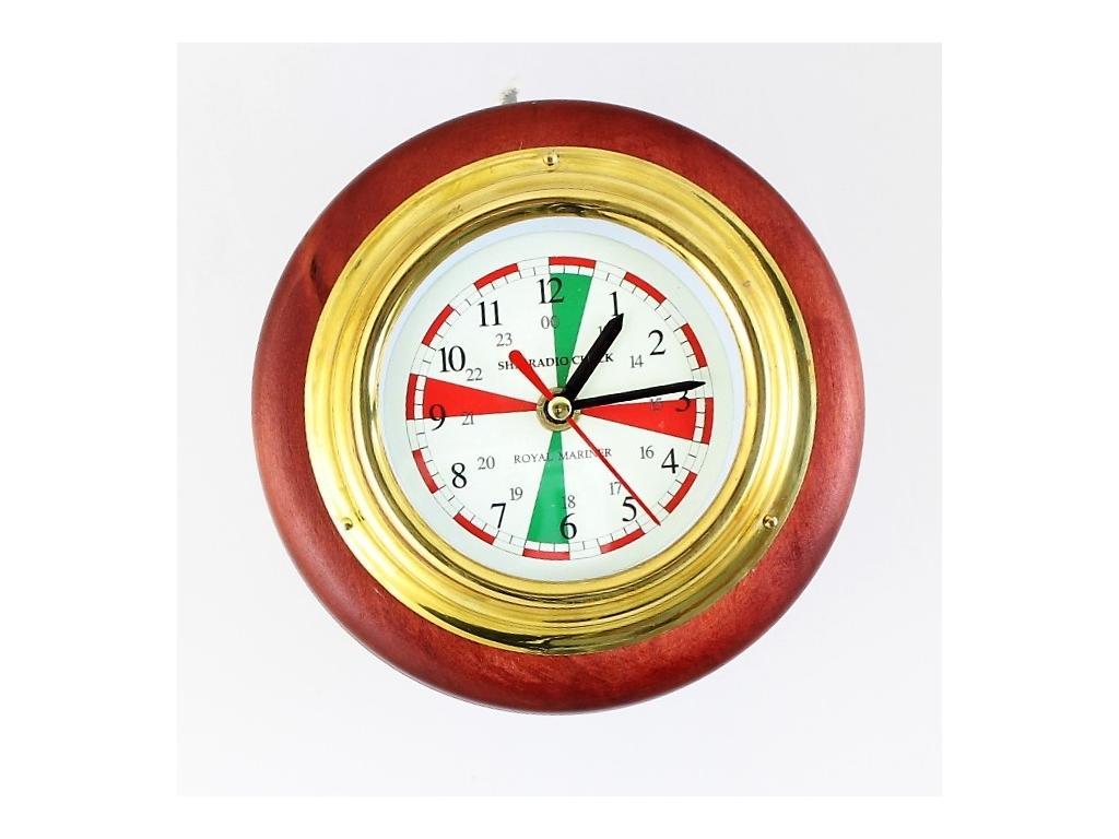 430 Корабен радио часовник /ф – 130 мм. / на дървена поставка /ф – 165 мм./