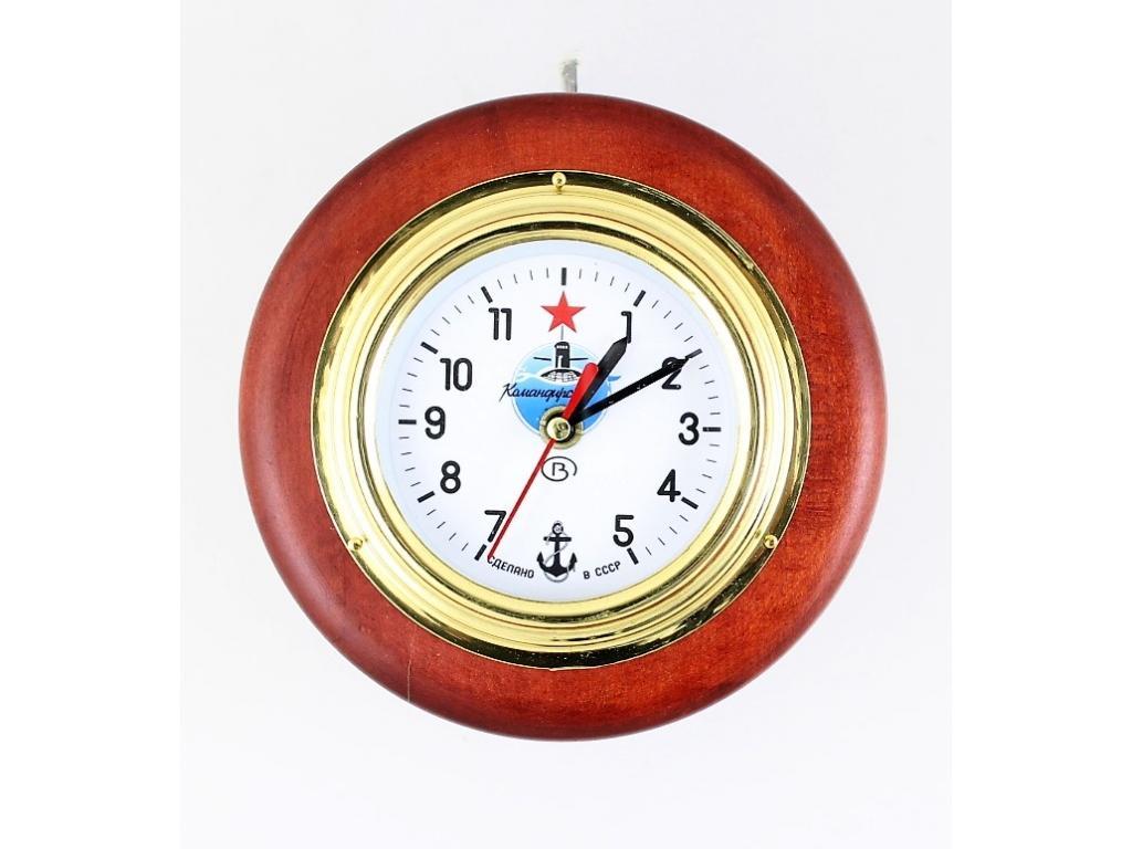 """431 Корабен часовник """"Командирски"""" /ф – 130 мм. / на дървена поставка /ф – 165 мм./"""