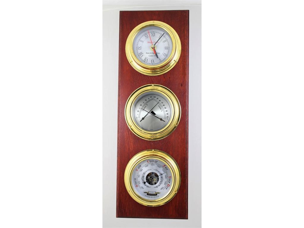 434 Барометър,Термометър с Хигророметър,Часовник /с ф – 130 мм./ на дъреен плакет от дъб /170 х 500 мм./