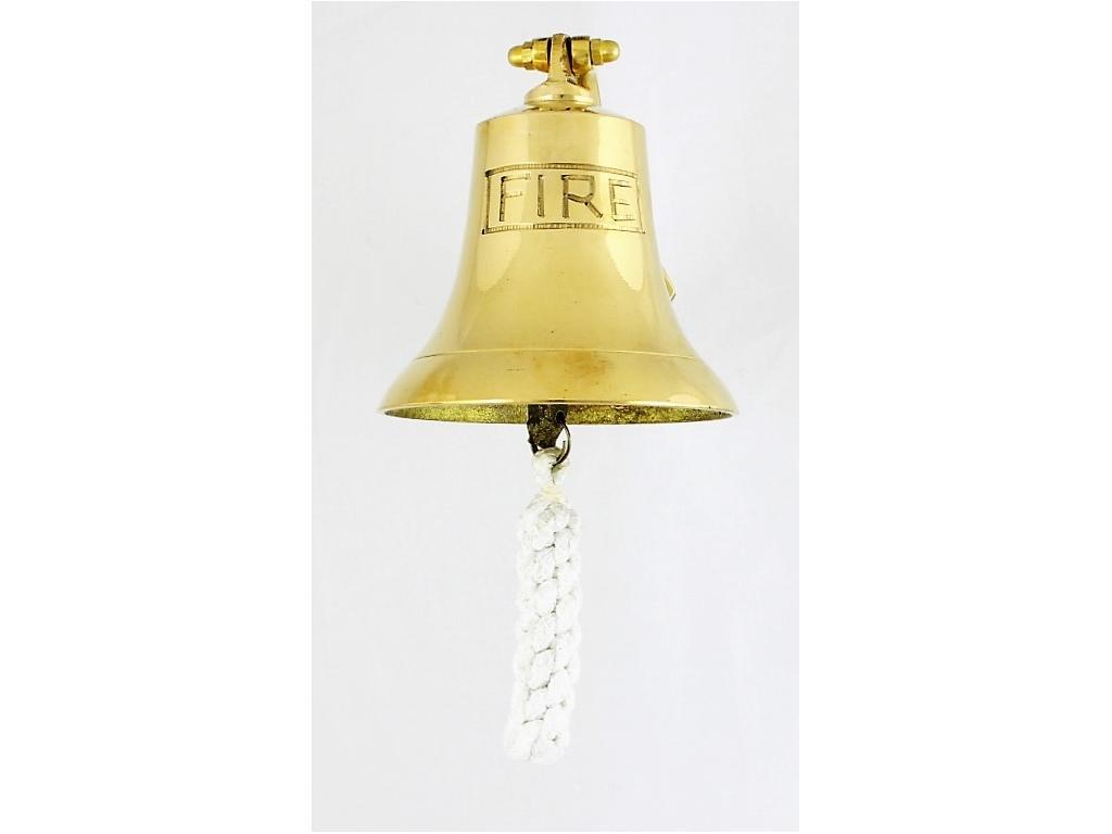 """Корабна камбана от плътен месин,полирана,г с гравиран надпис """"FIRE"""""""