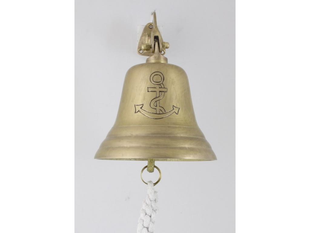 Корабна антична камбана от плътен месинг,гравирана корабна котва
