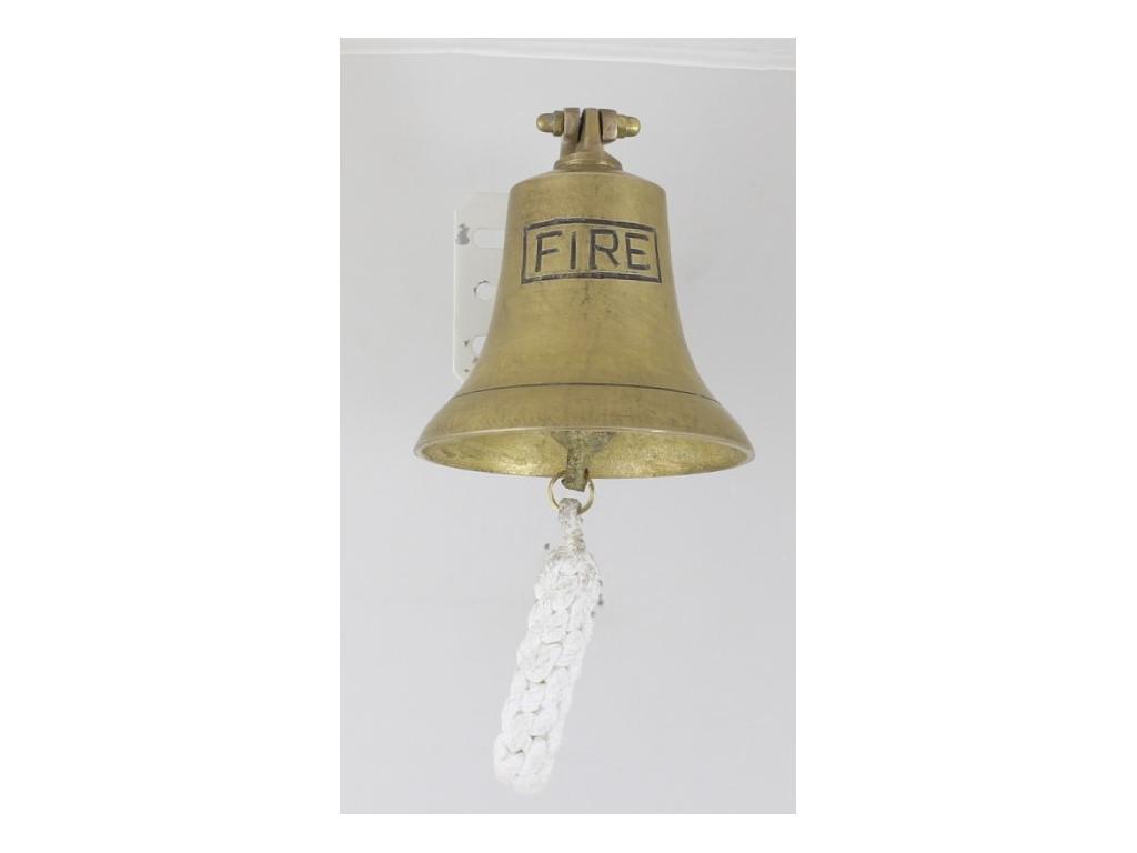 """Корабна антична камбана от плътен месинг,гравиран надпис """"FIRE"""","""