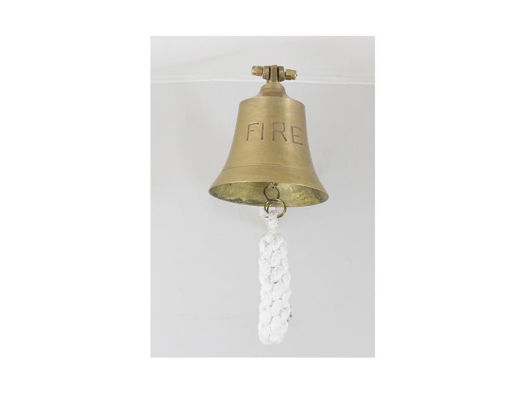 """Корабна антична камбана от плътен месинг,гравиран надпис """"FIRE"""""""