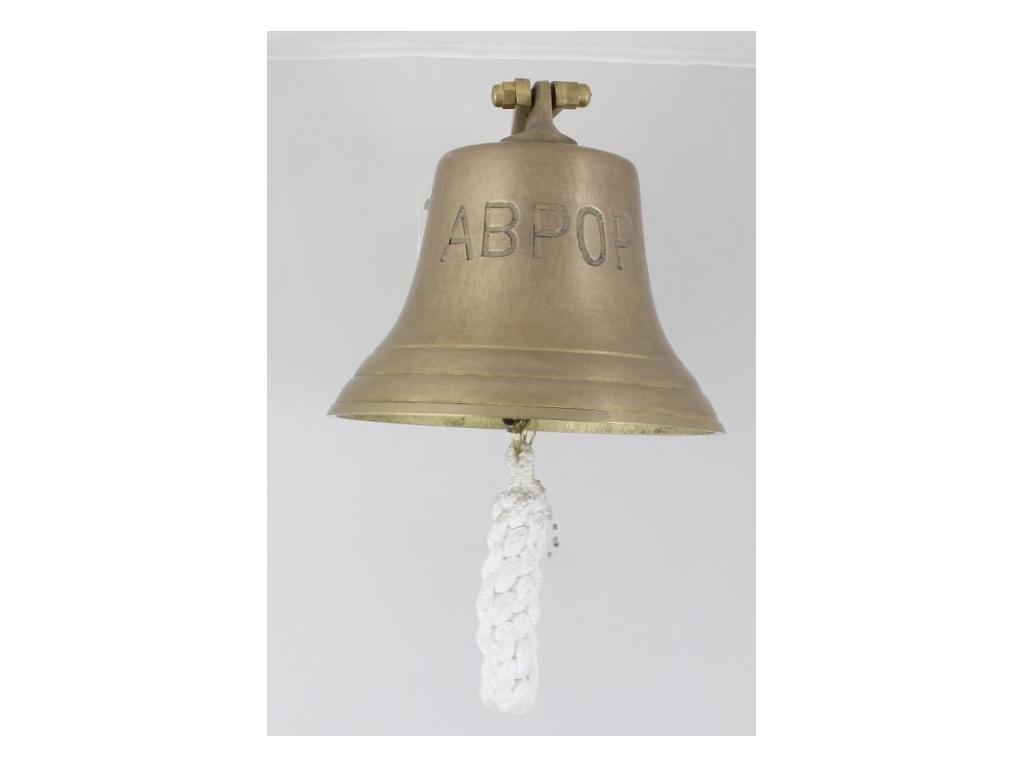 """Корабна антична камбана от плътен месинг,гравиран надпис """"АВРОРА"""","""