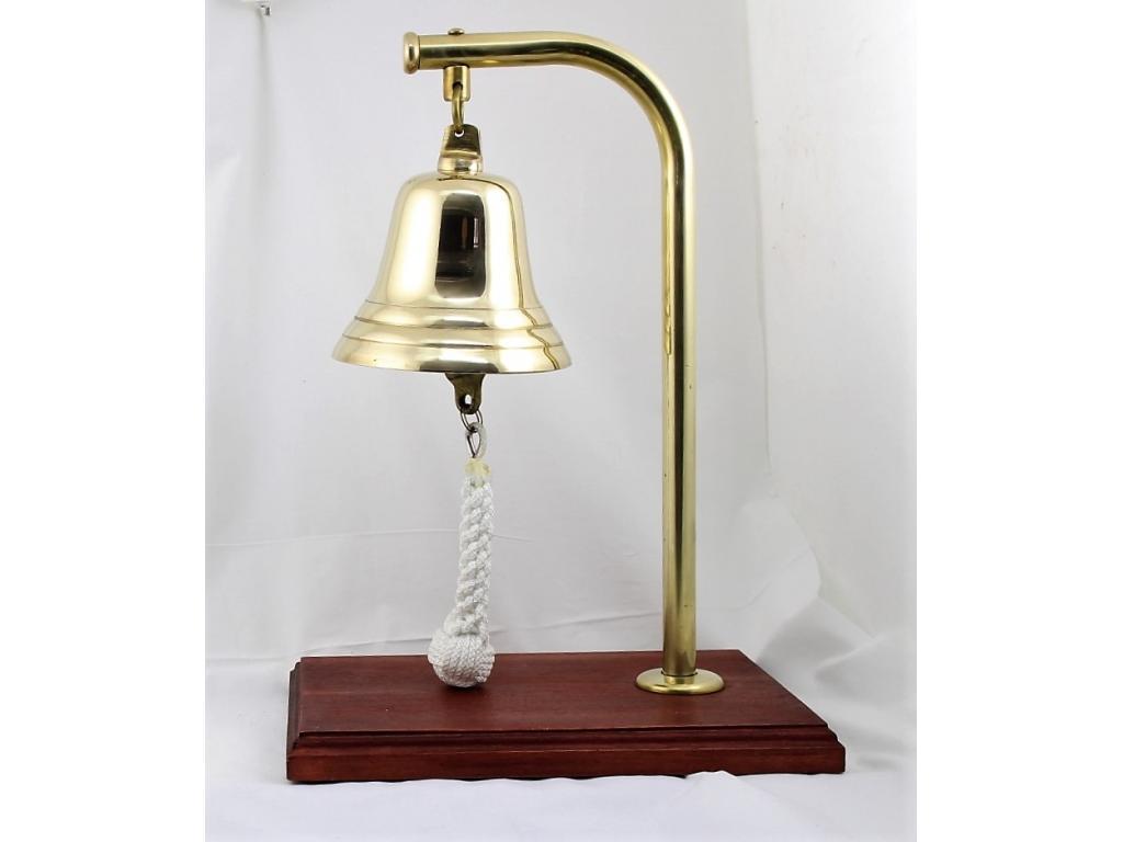 273 Камбана от плътен месинг,полирана, разположена на дървена поставка от махагон